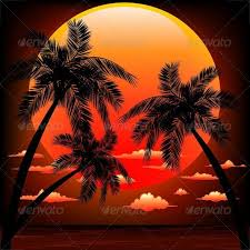 warm topical sunset with palm trees by bluedarkat graphicriver
