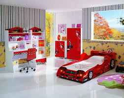 red funky bedroom with chic furniture for striking look lovable
