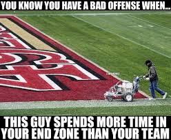 nfl memes on twitter who spends more time in the 49ers end zone