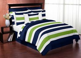 Blue Bed Set Modern White Navy And Lime Green Striped Bedding In A Bag Set