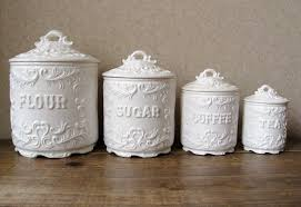 decorative kitchen canisters sets vintage canister set antique white with ornate details vintage