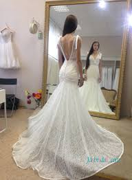 low back wedding dresses h1060 plunging neck low back lace mermaid wedding dress