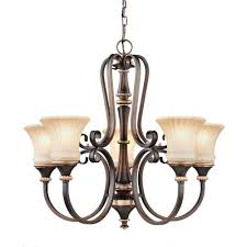 hampton bay brown chandeliers hanging lights the home depot