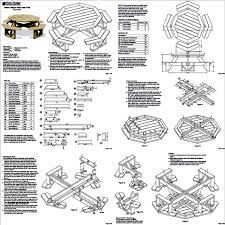 Outdoor Patio Table Plans Free by Classic Large Octagon Picnic Table Bench Woodworking Plans