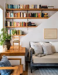 interior chic living room corner bookshelf before after a small