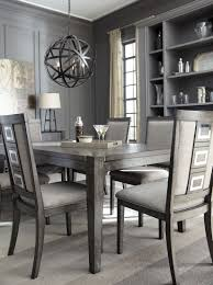gray rectangular extendable dining room set