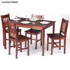 table avec 4 chaises ikayaa moderne 5 pcs bois salle à manger ensemble cuisine dinette