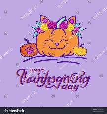 happy thanksgiving card pumpkin cat stock vector 755875315
