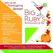 thanksgiving in la paz at big ruby s in el centenario the baja
