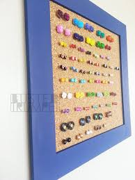 earring holder for studs periwinkle blue earring storage custom corkboard earring holder
