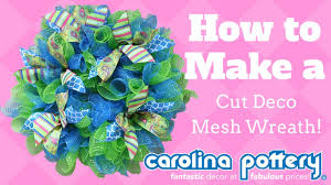 how to make a halloween wreath with mesh ribbon how to make a cut deco mesh wreath carolina pottery youtube