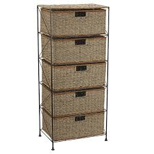 Metal Storage Cabinet With Drawers Amazon Com Household Essentials 5 Drawer Storage Unit Seagrass