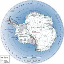 antarctic circle map showing the entire icy southern continent