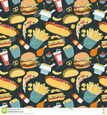 hand drawn vector seamless fast food pattern stock vector image