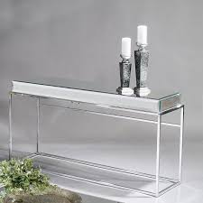Stainless Steel Sofa Table Narrow Entry Mirrored Console Table With Shelf And Stainless Steel