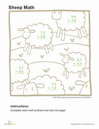 adding decimals coloring page worksheet education com