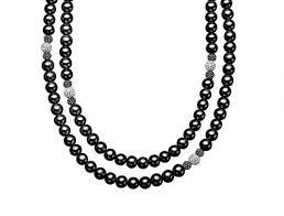 swarovski crystal black necklace images 48 in black pearl necklace with white and black swarovski crystal jpg