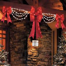 Outdoor Lighted Christmas Decorations Swag And Bow Christmas Lights Christmas Lights Card And Decore