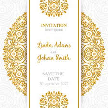 wedding invitations with gold ornaments in vintage style vector free