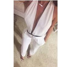 white plunge jumpsuit jumpsuit white plunge v neck plunge v neck v white