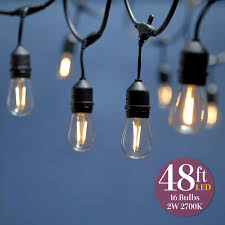 dimmable outdoor led string light 48 foot s14 2w led string lights outdoor 15 bulbs included ul listed