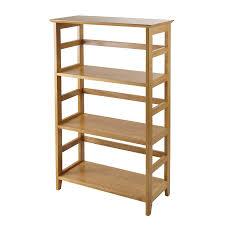 shop winsome wood studio honey wood 3 shelf bookcase at lowes com