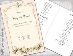 wedding booklet templates printable wedding program template