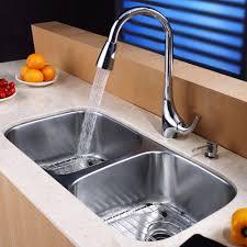 Kitchen Sink And Faucet Combo Kraus Kbu22kpf1621ksd30ch 32 Inch Undermount 50 50 Double Bowl
