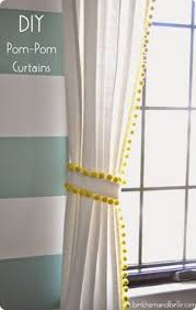 Curtains With Pom Poms Decor Diy Embellished Curtains An Anthropologie Swing Stripe Curtains