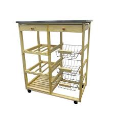 home decorators collection natural kitchen cart with storage h 43