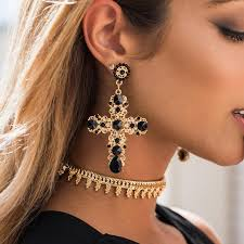 statement earrings vintage black gold cross statement earrings the trendi shop