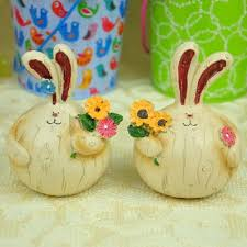 set of 2 lovely village style fat resin couple rabbit pick