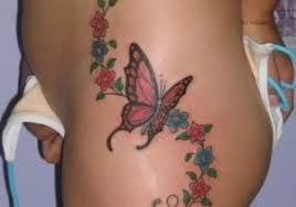 butterfly and flower tattoos on leg hibiscus flower with