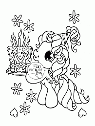 little pony and birthday cake coloring page for kids holiday