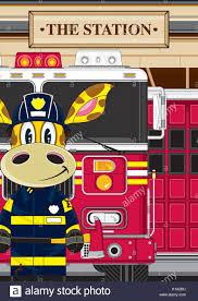 cartoon giraffe fireman firefighter fire engine vector stock