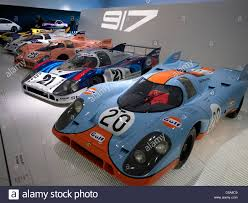 porsche museum collection of porsche 917 race cars on display at porsche museum
