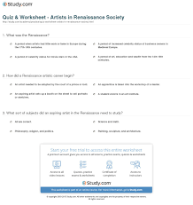 quiz u0026 worksheet artists renaissance society study