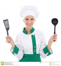 chef de cuisine femme femme dans l uniforme vert de chef avec des outils de cuisine d