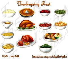 thanksgiving dinner feast clip set digital graphics for