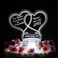 heart wedding cake toppers heart wedding cake topper light up cake top acrylic