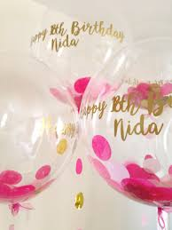 personalised birthday balloons personalised pink and gold confetti balloon with 18th