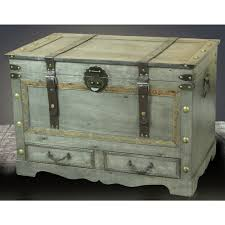storage trunk coffee table vintiquewise rustic gray large wooden storage trunk coffee table