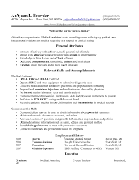 Example Of Resume For Medical Assistant Medical Assistant Resumes Templates Resume Sample Receptionist Or