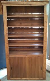 Wood Bookcase With Doors Rustic Wood Retail Store Product Display Fixtures Shelving