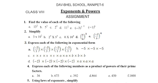 cbse ncert math 8th exponents u0026 powers worksheet