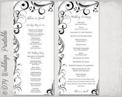 order wedding programs black white wedding program template instant scroll