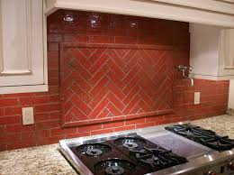 faux red brick backsplash modern kitchen decoration with white