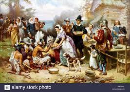 the thanksgiving day plymouth america 1621 stock photo