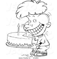 vector cartoon birthday boy eating entire cake coloring