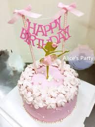 girl cake hot pink bows happy birthday cake banner party decoration home